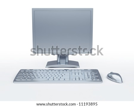 Components of a personal computer: monitor, mouse, keyboard, stylized in metallic style
