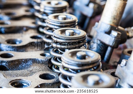 Components of an automobile engine, Part of the old engine - stock photo