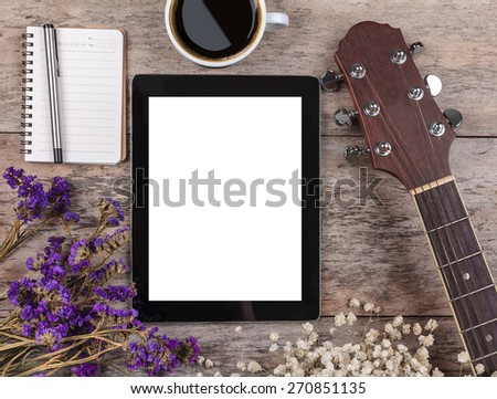 compose a song on a wooden - stock photo
