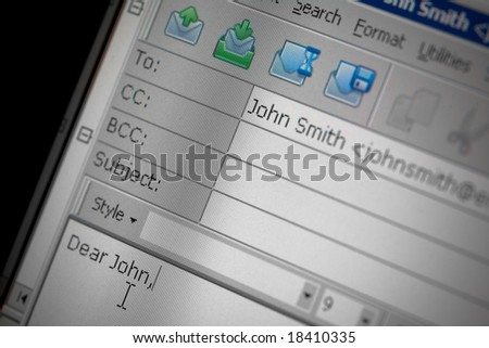 Compose new email message screen. Blank window for writing e-mail. Internet correspondence   concept