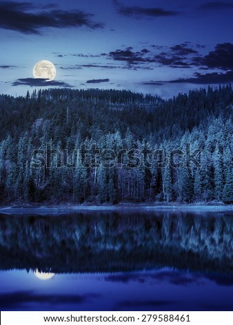 composite autumn  landscape with lake with reflection in pine forest on mountain hill at night in full moon light - stock photo