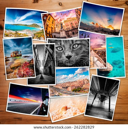 Composite collage of various printed photos - these are all photos made by me, that you separately can find on my shutterstock portfolio. - stock photo