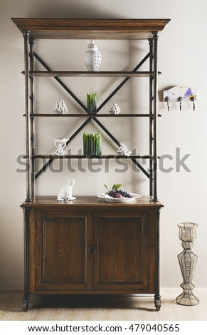 composite furniture with a candle case and other decoration ornaments in a deco photo on a studio