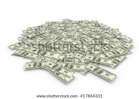 Composite image of a pile of dollars on a white background - stock photo