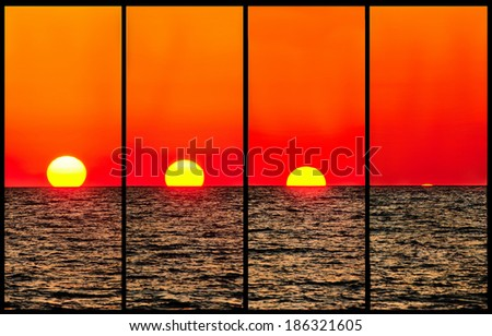Composite image of a sunset where sun is in different position - stock photo