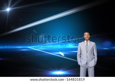 Composite image of attractive businessman with hands in pockets