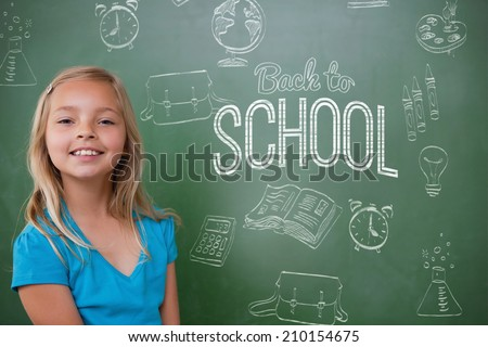 Composite image of back to school message against cute pupil smiling