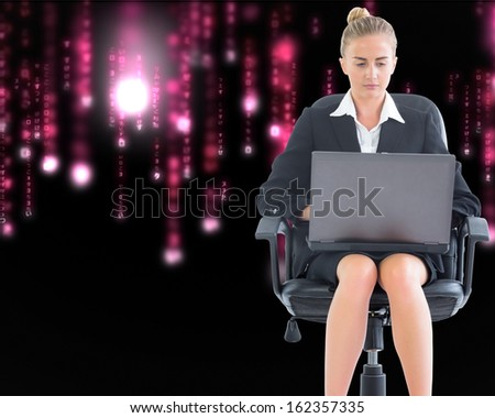 Composite image of blonde businesswoman sitting on swivel chair with laptop - stock photo