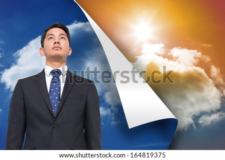 Composite image of blue sky background over sunny sky background
