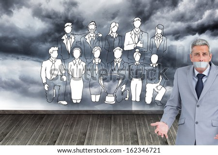 Composite image of businessman gagged with adhesive tape on mouth - stock photo