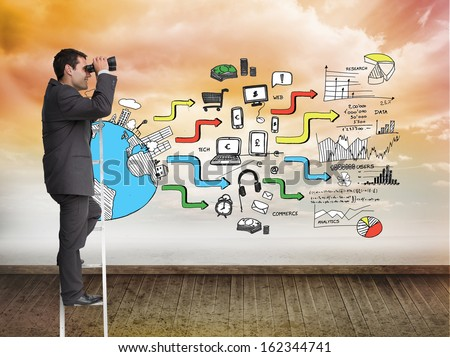 Composite image of businessman standing on ladder holding binoculars - stock photo
