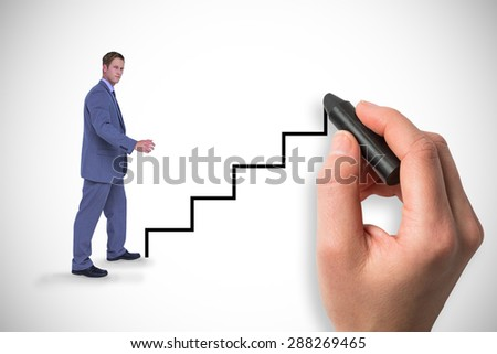 Composite image of businessman walking while gesturing with hands
