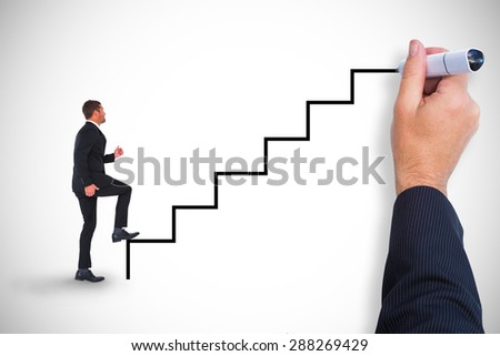 Composite image of businessman walking with his leg up