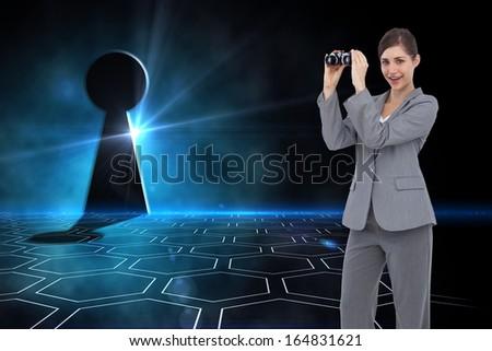 Composite image of businesswoman posing with binoculars - stock photo