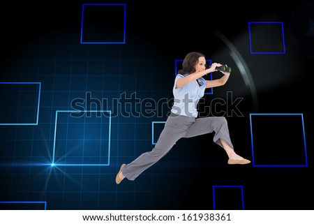 Composite image of cheerful classy businesswoman on white background jumping while holding binoculars