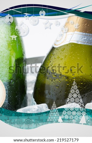 Composite image of christmas frame against two bottles of champagne chilling on ice