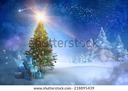Composite image of christmas tree with gifts against snowy landscape with fir trees - stock photo