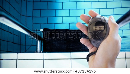 Composite image of coach is holding a stopwatch against water moving in the swimming pool - stock photo