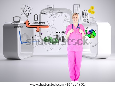 Composite image of confident young female surgeon holding a stethoscope - stock photo