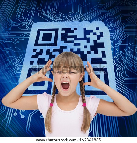 Composite image of crazy little girl  - stock photo