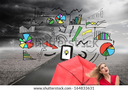 Composite image of elegant happy blonde holding umbrella