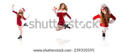 Composite image of festive redhead smiling at camera - stock photo