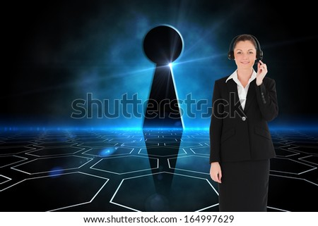Composite image of good looking young woman in black suit using headphones and posing while standing