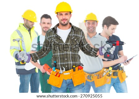 Composite image of handyman wearing tool belt - stock photo