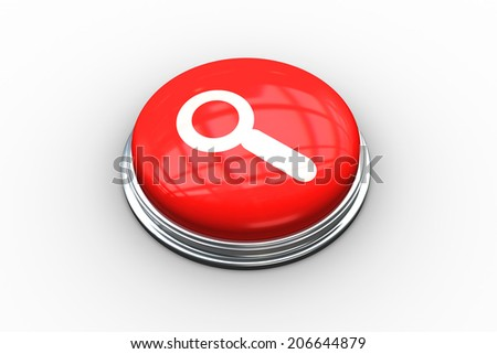 Composite image of magnifying glass on digitally generated red push button