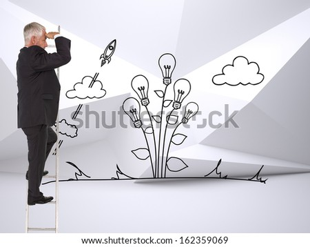Composite image of mature businessman standing on ladder watching - stock photo