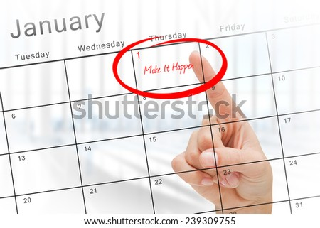 Composite image of new years resolutions against january calendar - stock photo