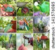 Composite image of nine photos of gardening themes showing plants and tools like shovels, watering can, wheelbarrow and other items - stock photo