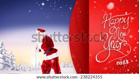 Composite image of santa claus pulling rope against red vignette - stock photo
