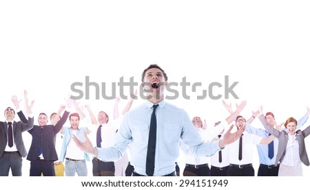 Composite image of shouting businessman celebrating - stock photo