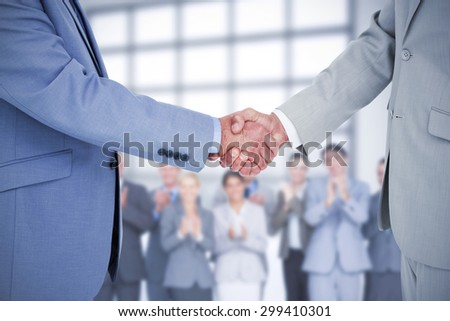 Composite image of side view of shaking hands - stock photo