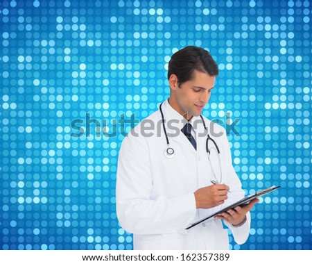 Composite image of smiling doctor holding pen and clipboard - stock photo