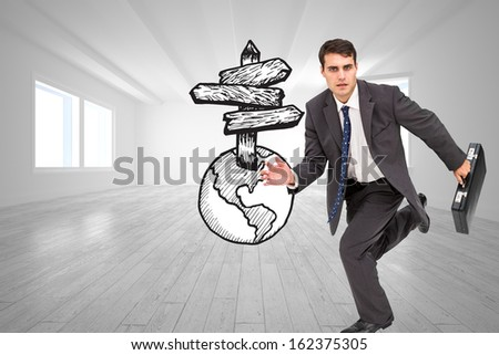 Composite image of stern attractive businessman in a hurry