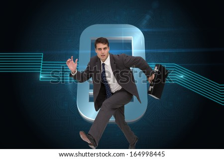 Composite image of stern attractive businessman in a hury
