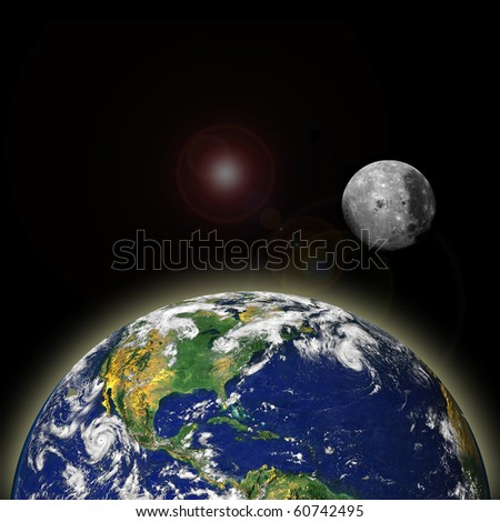 Composite image of the Earth and the Moon - stock photo