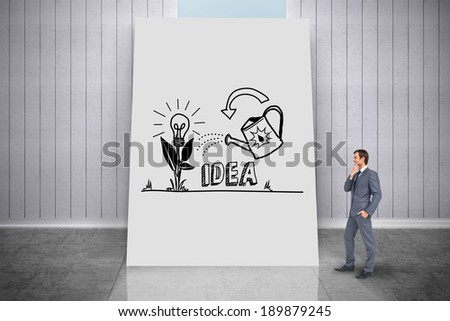 Composite image of thinking businessman against white card - stock photo