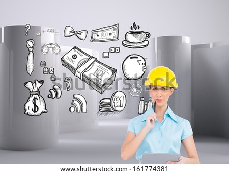 Composite image of thoughtful attractive architect holding clipboard - stock photo