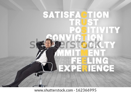 Composite image of young businessman in office sitting on chair - stock photo