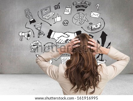 Composite image of young classy businesswoman with hands on head standing back to camera  - stock photo