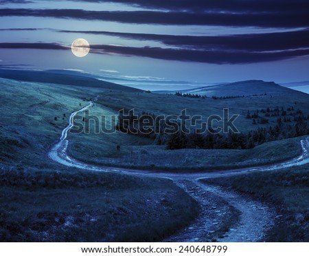 composite landscape. fence near the cross road on hillside meadow in mountains. few fir trees of forest  on sides of the road at night in full moon light - stock photo