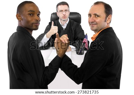 Composite of a judge supporting legalization of gay marriage.  The judge is pro same sex marriage.   - stock photo