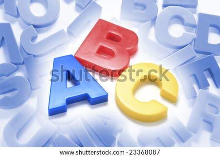 Composite of Alphabets with Blue Tone Background
