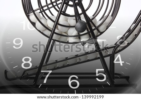 Composite of Bingo Game Cage and Calendar - stock photo