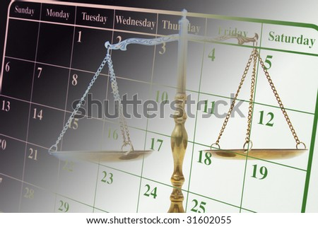 Composite of Calendar and Brass Scale - stock photo