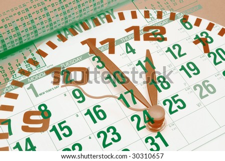 Composite of  Calendar and Clock - stock photo