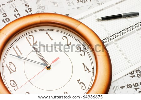 Composite of Calendar and Clock - stock photo
